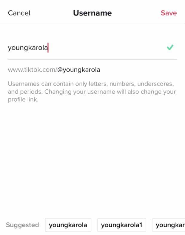 A screenshot of changing TikTok username