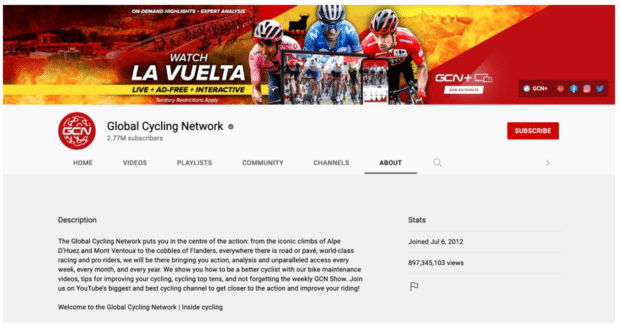 Global Cycling Network YouTube banner call to action