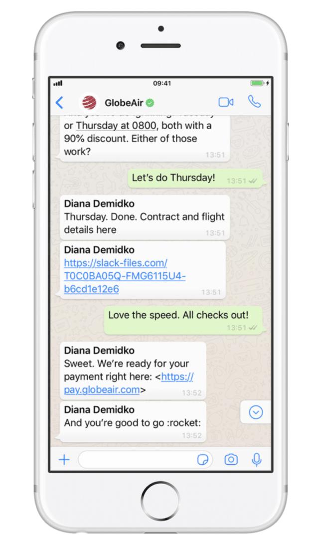 messaggi di GlobeAir su WhatsApp