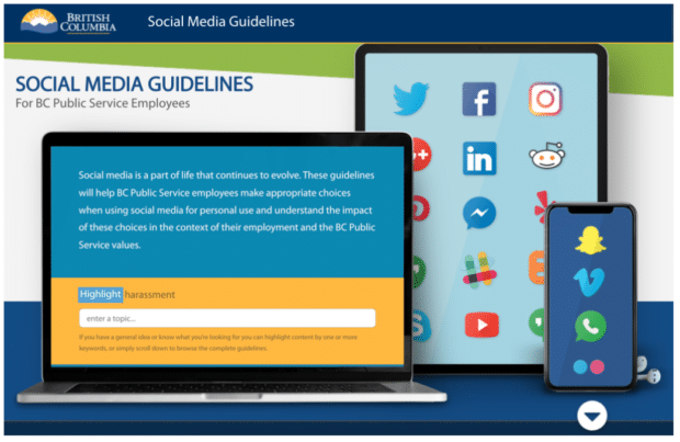 social media guidelines for BC public service employees