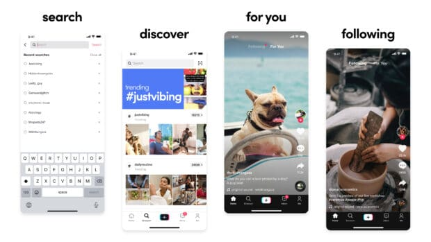 4 TikTok screenshots showcasing the 4 discovery channels in the app