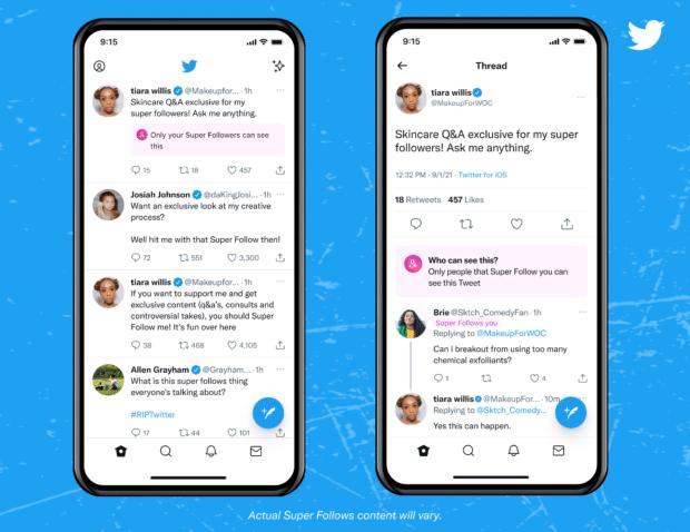 Super Follow badge in the Twitter app