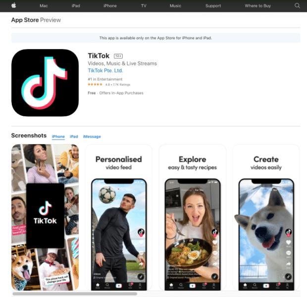 TikTok app store preview