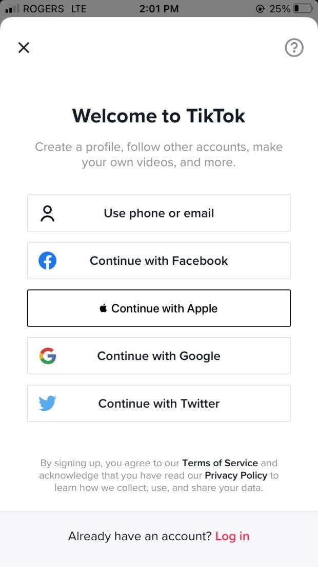choose sign up method