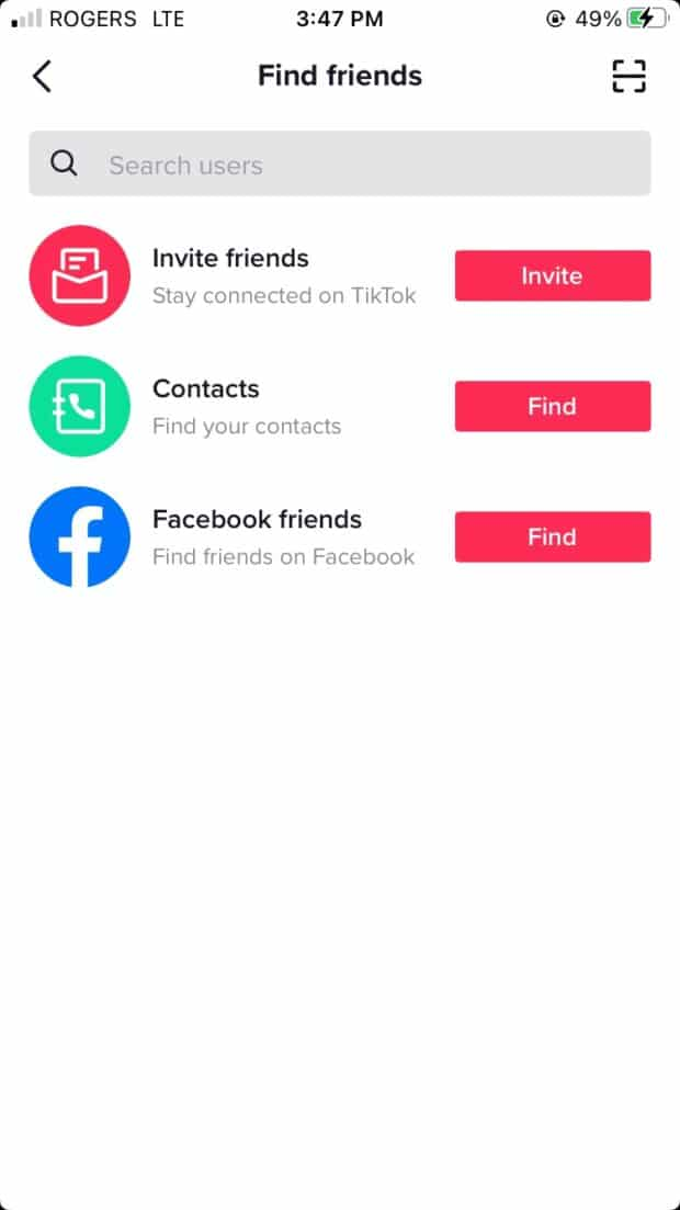 find friends by connecting profile to contact list or Facebook account