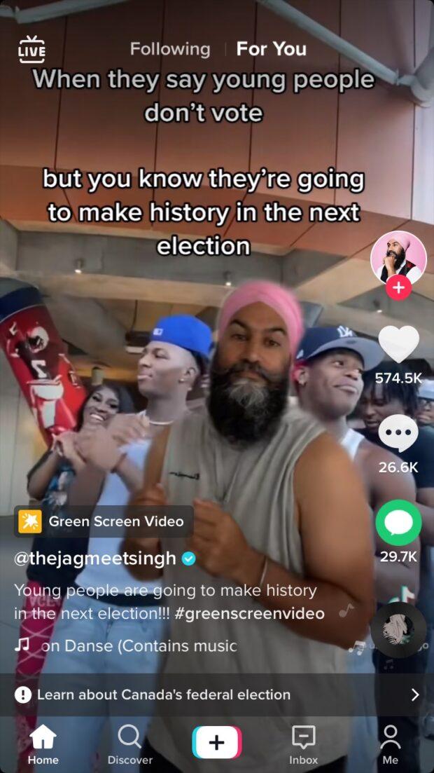 Jagmeet Singh election TikTok video