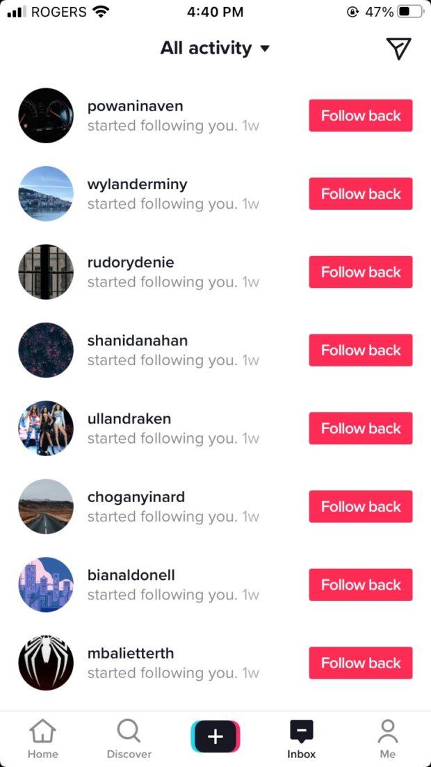 fake tiktok followers on the author's account