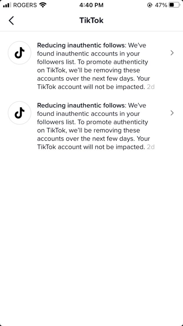 """two messages from TikTok to the author's TikTok account o """"followed by a reduction in inauthenticity"""""""
