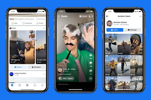 three phone screens showcasing Reels on the Facebook mobile app