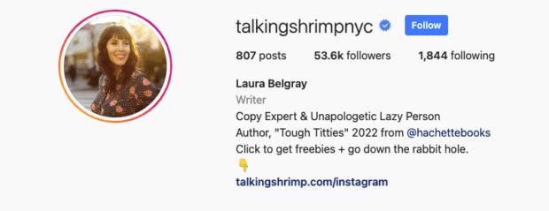 page instagram de Laura Belgray
