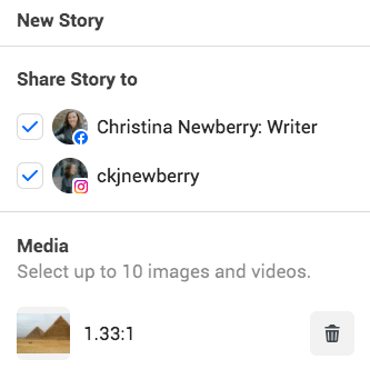 new story and media