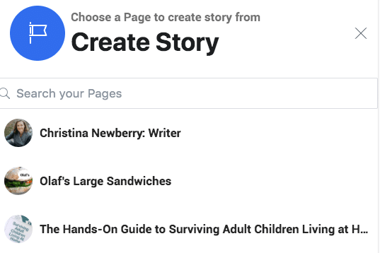 choose a page to create story from