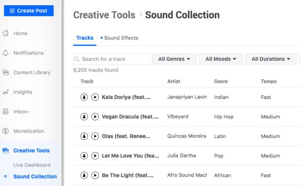 creative tools in Facebook Creator Studio