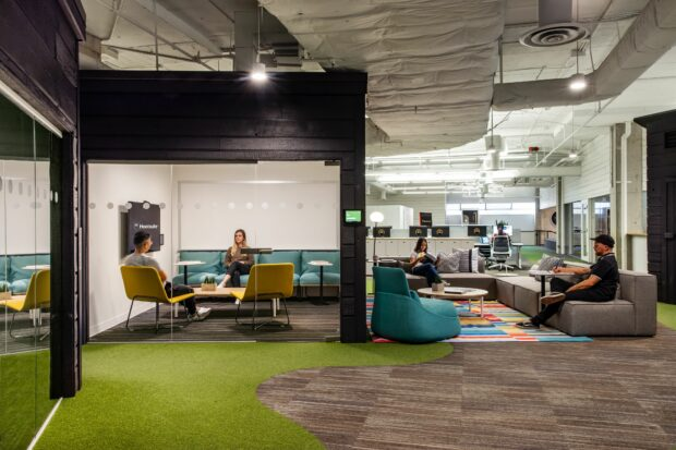 Meeting spaces in the Hootsuite Vancouver office
