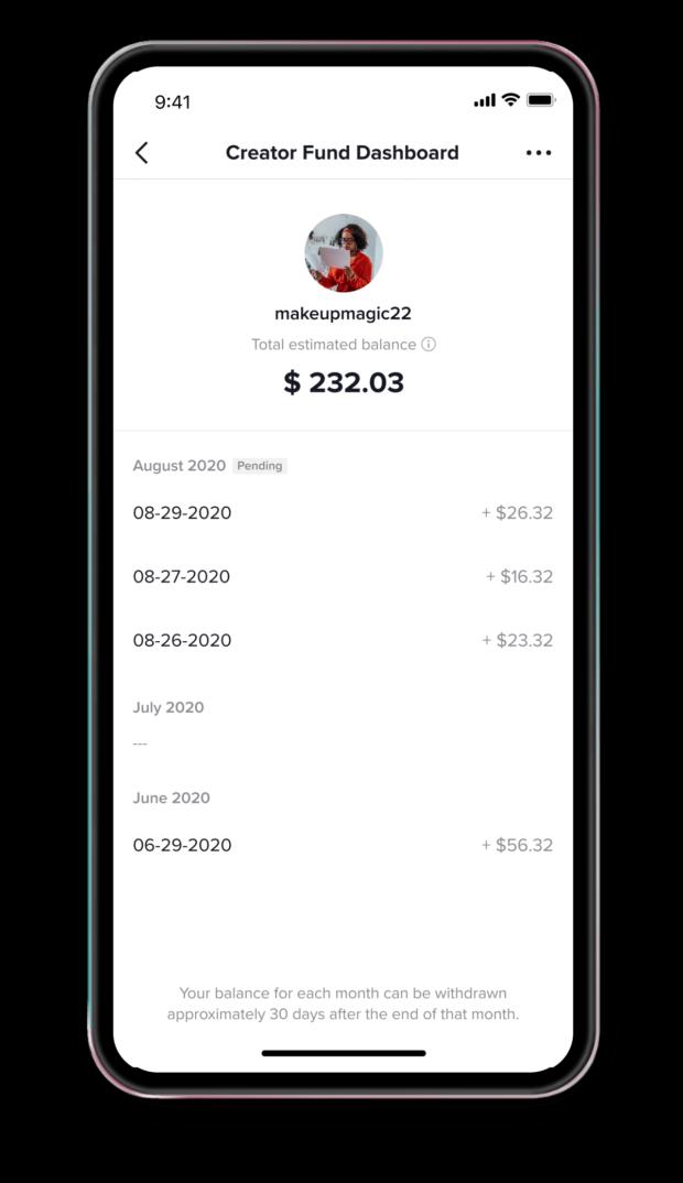 TikTok Creator Fund dashboard