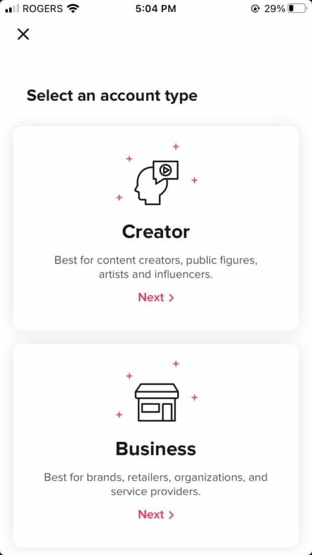 TikTok Creator or Business account