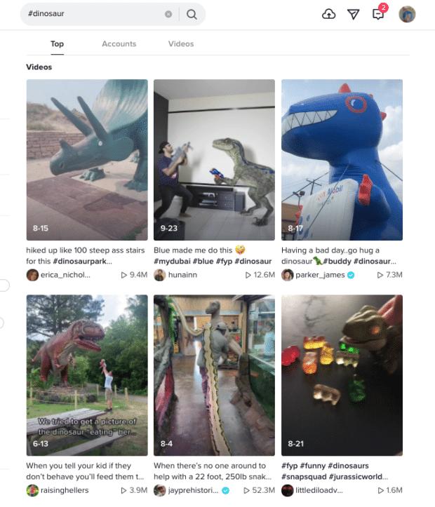 TikTok dinosaur hashtag