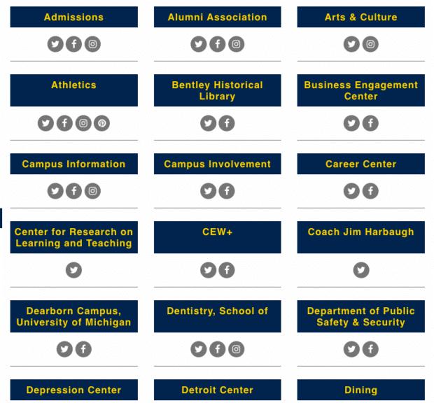 University of Michigan's directory of social media accounts