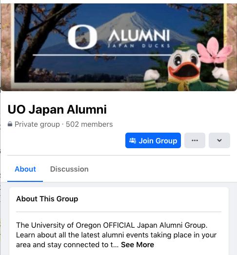 UO Japan Alumni Facebook group