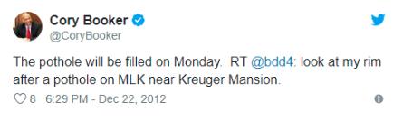 Der Screenshot zeigt einen Tweet von Corey Brooker, US-Senator für New Jersey