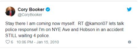 Der Screenshot zeigt einen weiteren Tweet von Corey Brooker, US-Senator für New Jersey