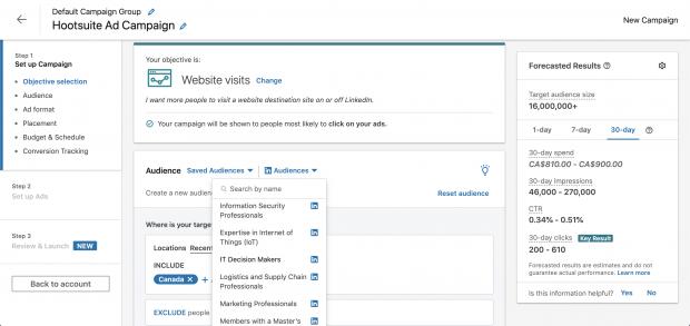 Targeting-Optionen im LinkedIn Kampagnen-Manager
