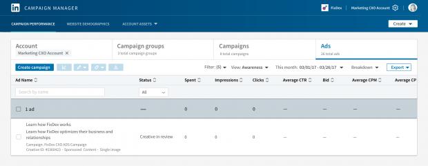 Die Statusspalte im Kampagnen-Manager zeigt an, wenn eine Ad genehmigt wurde
