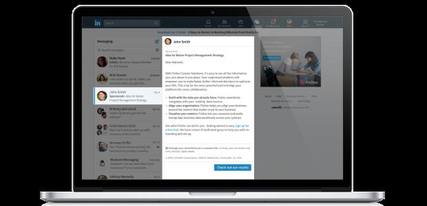 LinkedIn Message Ads erscheinen im Postfach von LinkedIn-Mitgliedern