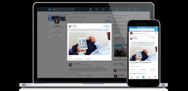 LinkedIn Sponsored Content Ads fördern das Engagement.