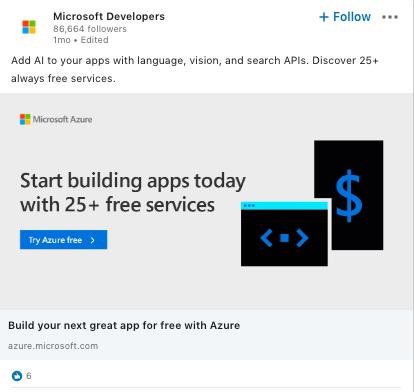 Anzeigen-CTA von Microsoft Developers auf LinkedIn