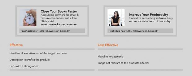Effektive und weniger effektive Überschriften und Copy-Texte laut LinkedIn