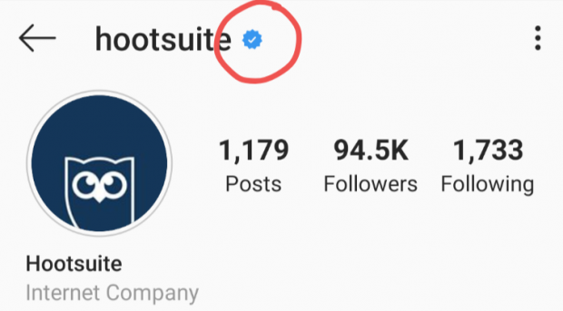 Instagram verification badge for Hootsuite profile