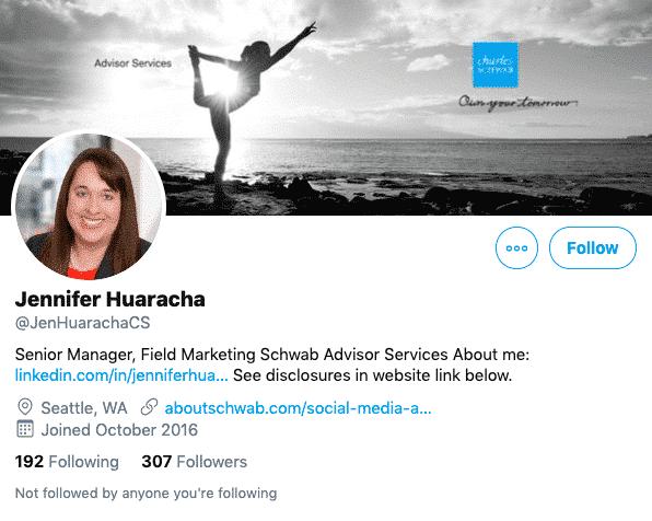 Marken-Twitter-Account einer Repräsentantin von Schwab Advisor Services