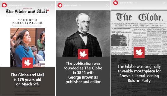 Plantillas para las Historias de Instagram de Globe and Mail