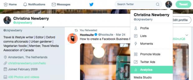 Navigating to Twitter Analytics dashboard