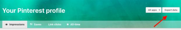 Export data button on Pinterest Analytics