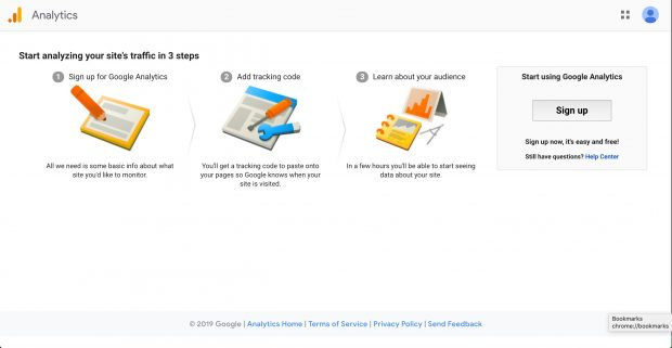 window to create a Google Analytics account
