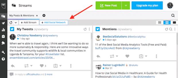 Bouton permettant d'ajouter un autre réseau social à Hootsuite