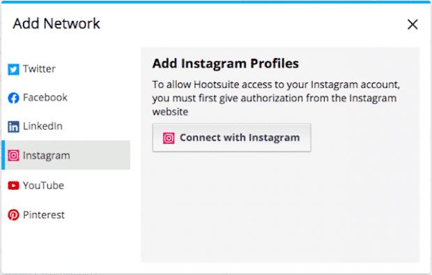 Option permettant d'ajouter plusieurs profils Instagram à Hootsuite