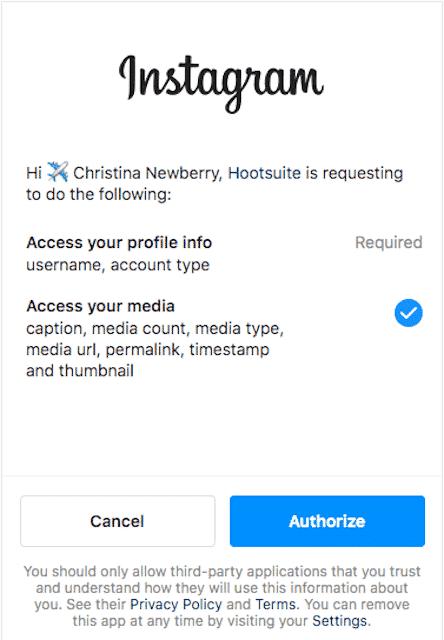 Bouton permettant d'autoriser un compte Instagram sur Hootsuite