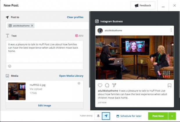 Option permettant de programmer une publication Instagram ou de la publier maintenant sur Hootsuite