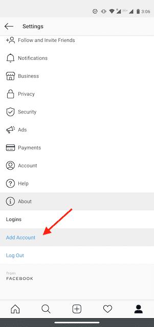 Bouton « Ajouter un compte » sur l'application Instagram