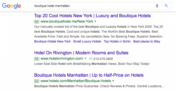 """Screenshot of Google search results for """"boutique hotel manhattan"""""""