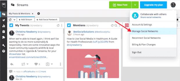 Option « Gérer les réseaux sociaux » sur Hootsuite