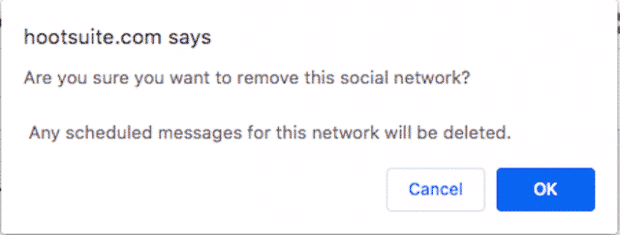 Fenêtre de confirmation de suppression d'un réseau social sur Hootsuite