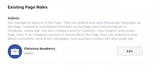 Seitenrollen geben Auskunft, ob Sie als Editor oder Admin gelistet sind