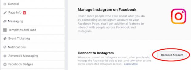 Se connecter à Instagram dans Facebook