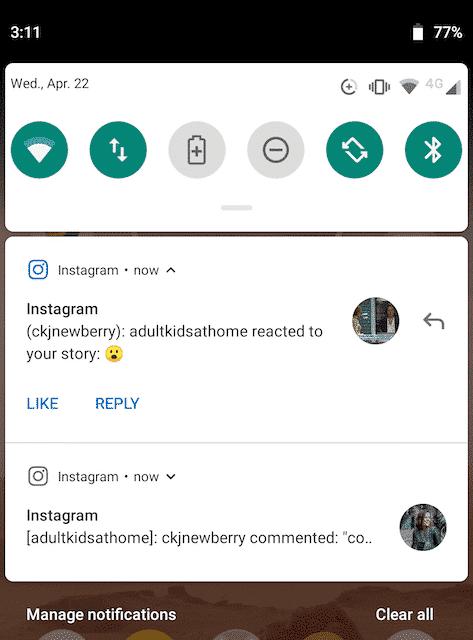 Notification Instagram