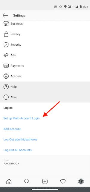 Option « Informations de connexion » sur Instagram