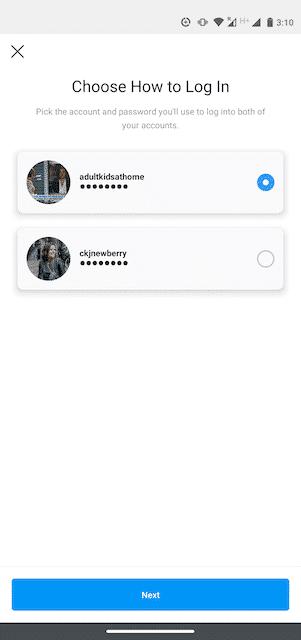 Option « Choisir un compte » sur Instagram